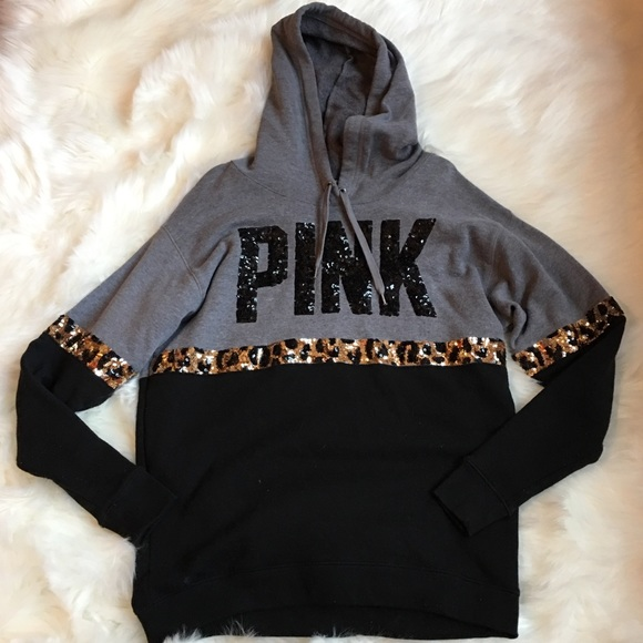60faed0b6b78 PINK Victoria's Secret RARE Sequin Bling Hoodie XS.  M_5a9ea3c35521be675a30ab19